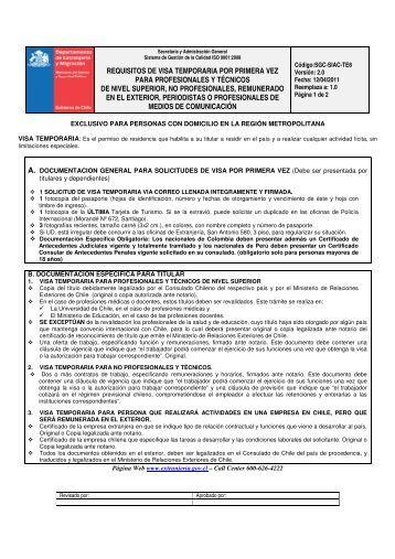 requisitos de visa temporaria por primera vez para profesionales y ...