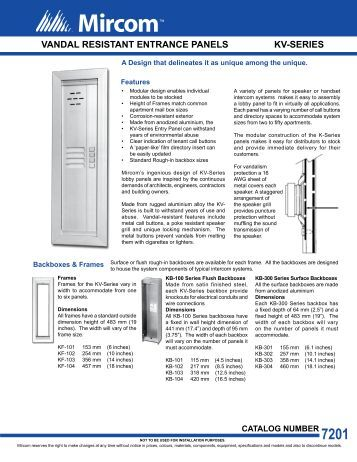 Mircom Telephone Entry System Manual