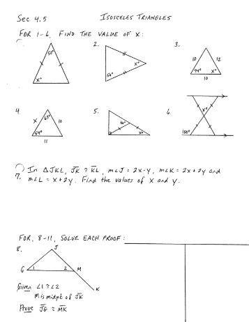 isosceles triangle theorems worksheet five pack math. Black Bedroom Furniture Sets. Home Design Ideas