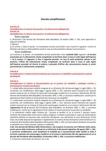 i due articoli DECRETO SEMPLIFICAZIONI riguardanti i diritti delle ...