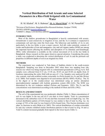 Modified rafiq 39 s pap2 the challenges of arsenic in for Soil quality parameters