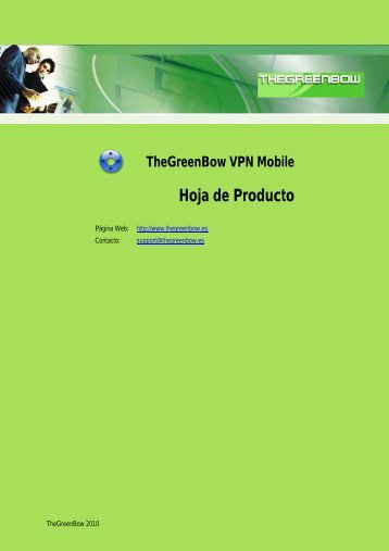 TheGreenBow VPN Mobile Hoja de Producto