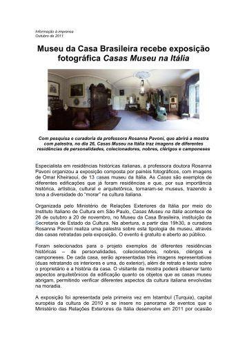 Informações à imprensa - Museu da Casa Brasileira