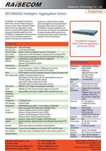 ISCOM2852 Intelligent Aggregation Switch ... - DAVANTEL