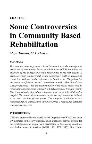 community based rehabilitation Page 7 jordan the role of institutions in community-based rehabilitation 47 and in community-based special education by andrew l de carpentier.