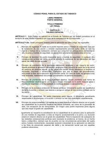 CODIGO PENAL PARA EL ESTADO DE TABASCO - Tribunal ...