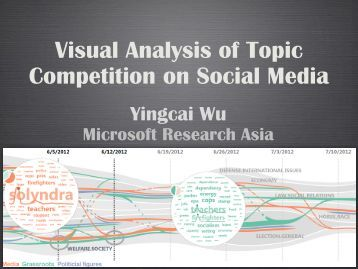 visual analysis of social media In this work, we present a visual analytics tool for online social media text data  that can be used to open up the investigation of stance.