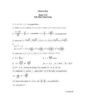 math 116 final exam answers