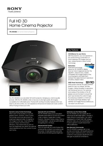 Full HD 3D Home Cinema Projector – Projectors ... - Projector Central