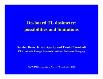 On-board TL dosimetry: possibilities and limitations - Wrmiss.org