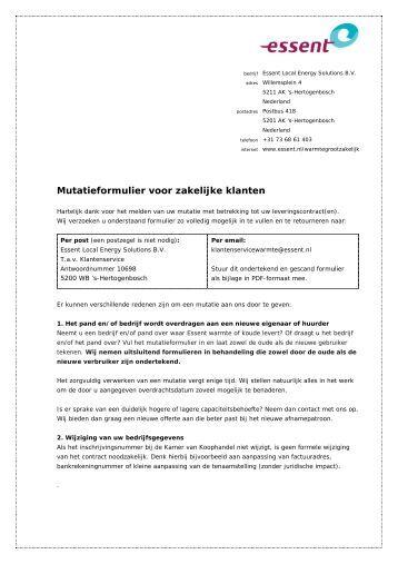Mutatieformulier magazines for Zakelijke hypotheek