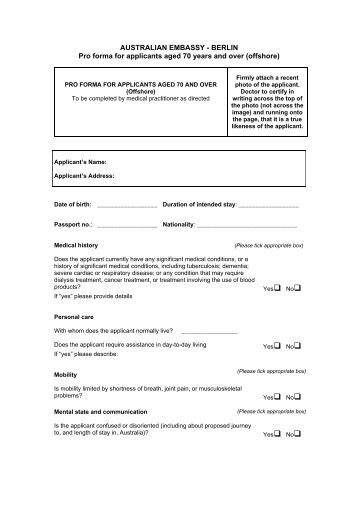Pro forma for applicants aged 70 years and over ... - Visumland.de