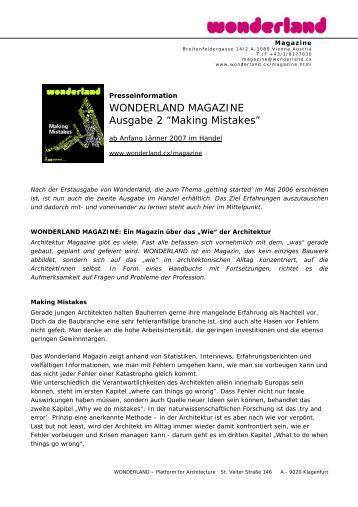 """WONDERLAND MAGAZINE Ausgabe 2 """"Making Mistakes"""""""