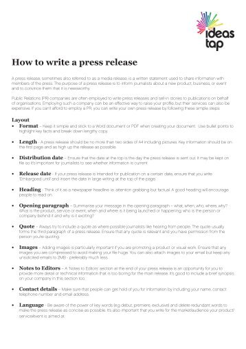 Write my press release ideas