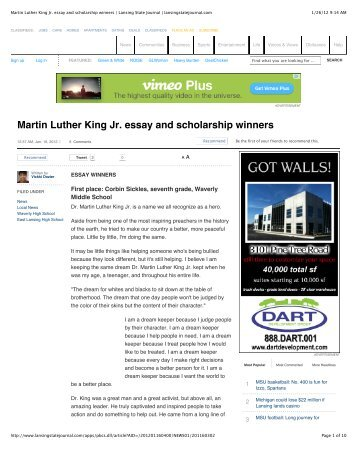martin luther king jr scholarship essay Dr king's dream lived on saturday night, as the martin luther king jr observance day committee handed out scholarships in his memory at savannah state university.