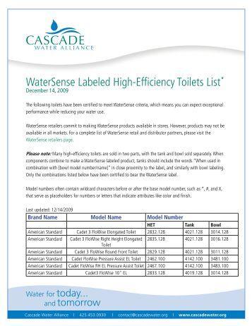 Vacuum toilet evac for Watersense label