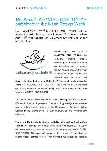 ALCATEL ONE TOUCH participate in the Milan ... - Tclcom.tcl.com