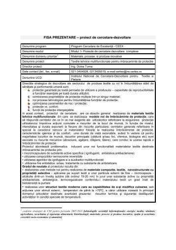 FISA PREZENTARE – proiect de cercetare-dezvoltare - Institutul ...