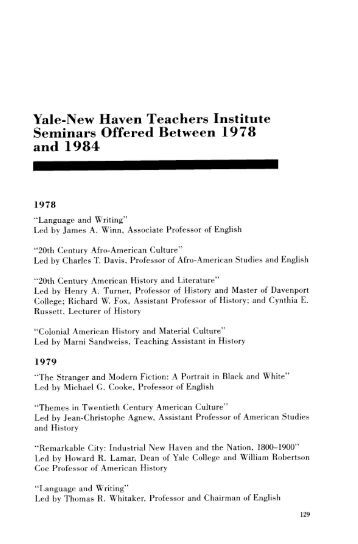 Yale-New Haven Teachers Institute Seminars Offered Between ...