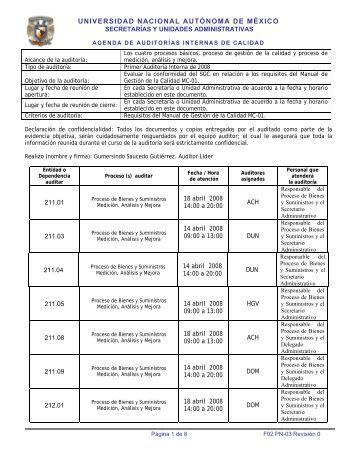 Agenda primera auditoría interna 2008 - Dirección General de ...