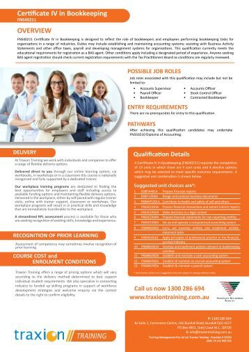 Certificate IV in Bookkeeping  Inspire Education
