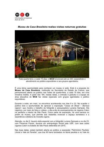Visitas noturnas gratuitas - Museu da Casa Brasileira - Governo do ...