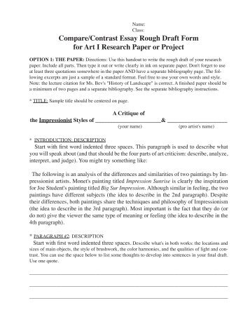 peer review sheet for compare contrast essay