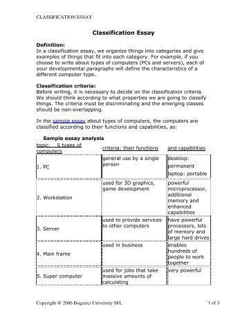classification essay types computers In a classification essay, we organize things into categories and give examples of things that fit into each category for example, if you choose to write about types of computers (pcs and servers), each of your developmental paragraphs will define the characteristics of a different computer type.