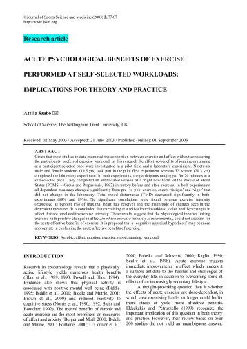 benefits of exercise essay psychological benefits of exercise essay