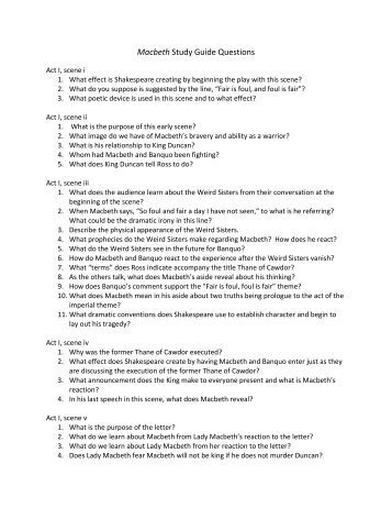 macbeth study guide questions act 3 essay 2018-4-11  remember to read each scene out loud as a group before you answer the questions act 2, macbeth study guide  guide macbeth: act 3 study  study questions & essay.