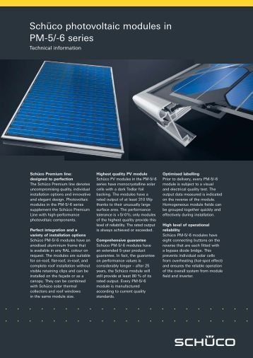 Schüco photovoltaic modules in PM-5/-6 series - Revolution Power