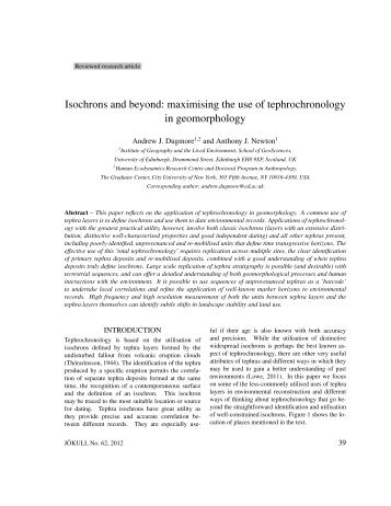 A new paper on tephrochronology by Andy Dugmore and ... - Nabo