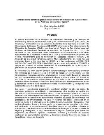 INFORME - Red Interamericana de Mitigación de Desastres