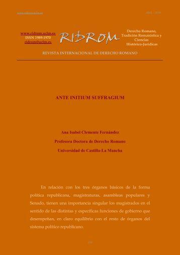 ante initium suffragium - revista internacional de derecho romano ...