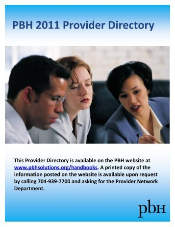 PBH 2011 Provider Directory - Cardinal Innovations Healthcare ...
