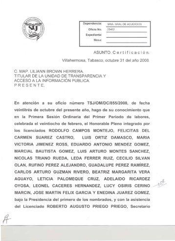 AsuNTO.certificación. - Tribunal Superior de Justicia de Tabasco