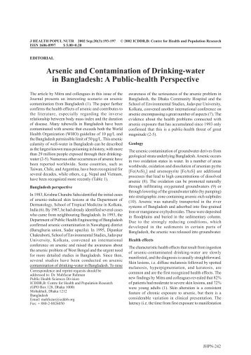 arsenic contamination in drinking water lack Arsenic and drinking water what is arsenic and where does it come from arsenic is a naturally occurring element found in the earth's crust as water flows through certain rock formations can i wash my food with arsenic-contaminated water.