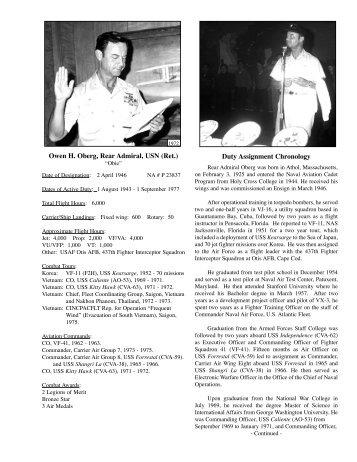 Owen H. Oberg, Rear Admiral, USN (Ret.) Duty Assignment ...