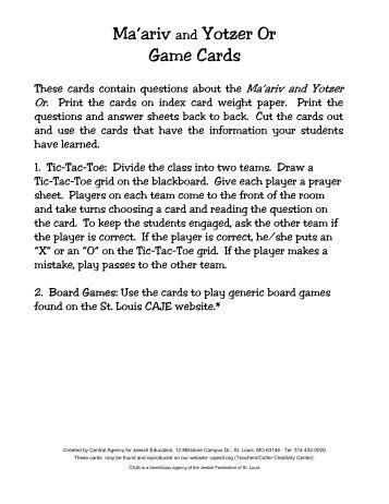 Ma'ariv and Yotzer Q&A Cardspdf.dwd - Central Agency for Jewish ...