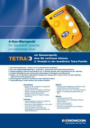 Datenblatt zum TETRA 3 (pdf) - Gas Sensor Innovation