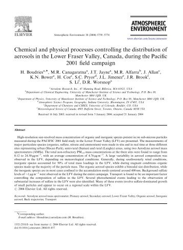 Chemical and physical processes controlling the distribution of ...