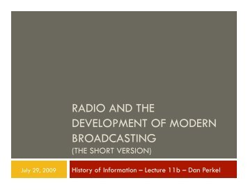 radio and the development of modern broadcasting - Courses