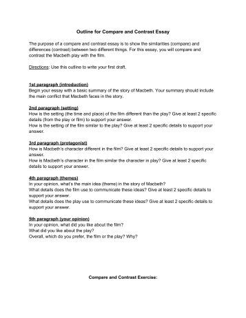 Outlines for compare and contrast essays