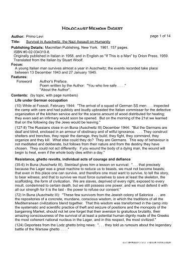 an introduction to the survival in auschwitz Ivan kyncl when the heirs of italian chemist, author and holocaust survivor primo levi gave final approval for antony sher's stage adaptation of levi's concentration camp memoir survival in auschwitz (us title), they insisted the play should never be performed by anyone other than the distinguished actor himself.