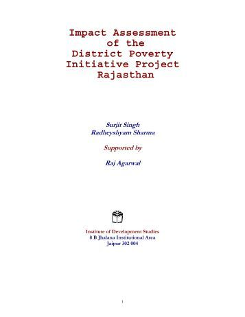 Impact Assessment of the District Poverty Initiative Project Rajasthan