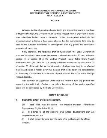 GOVERNMENT OF MADHYA PRADESH DEPARTMENT OF ...