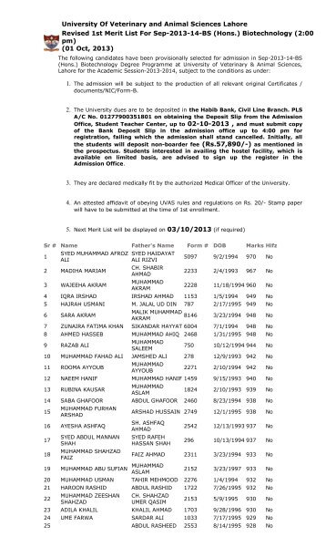 First Merit List of BS (Hons.) Biotechnology for Session 2013 ... - UVAS