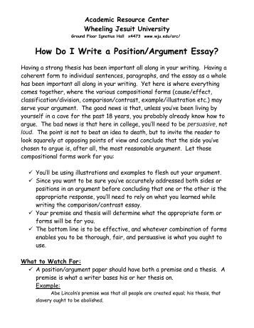 Position argument essay