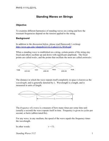 Standing waves on a string lab report