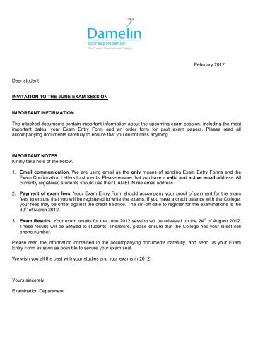 exam entry form june 2012 - Damelin Correspondence College